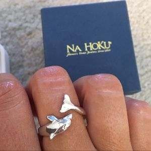 NA HOKU sterling silver dolphin adjustable ring